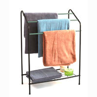 3 Tier Steel Towel Rail With Storage Shelf Assorted Color