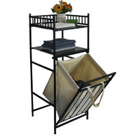 Strong Square Tube Wire Tilted Laundry Hamper With 2-tier Storage Shelves